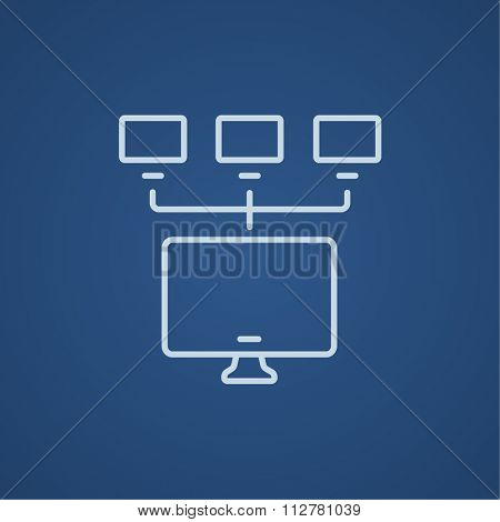 Group of monitors linked in a hierarchical network line icon for web, mobile and infographics. Vector light blue icon isolated on blue background.