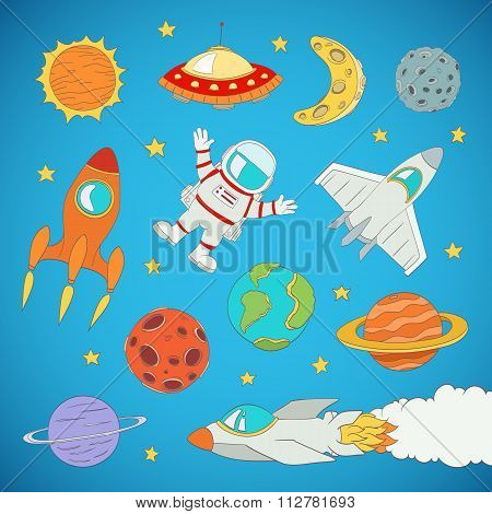 Set Of Cartoon Cute Outer Space