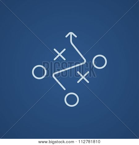 Tactical plan line icon for web, mobile and infographics. Vector light blue icon isolated on blue background.