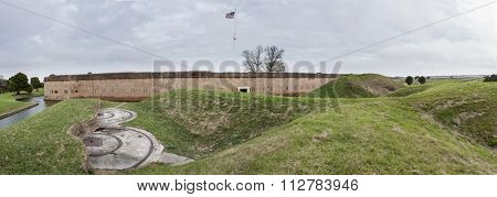 180 degree panorama of Fort Pulaski and earthworks. Fort Pulaski was a confederate for during the American Civil War