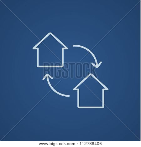 House exchange line icon for web, mobile and infographics. Vector light blue icon isolated on blue background.