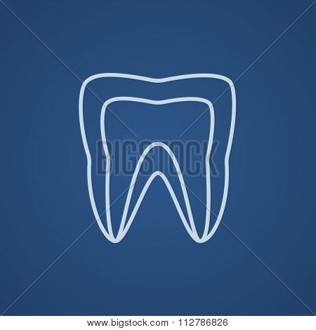 Molar tooth line icon for web, mobile and infographics. Vector light blue icon isolated on blue background.