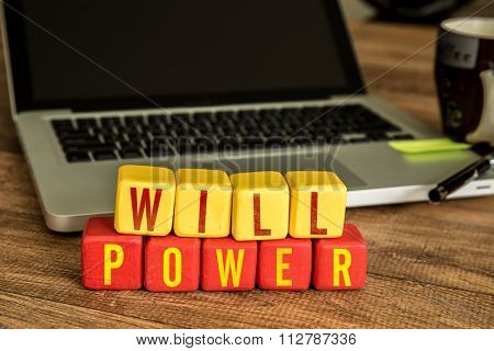Will Power written on a wooden cube in a office desk