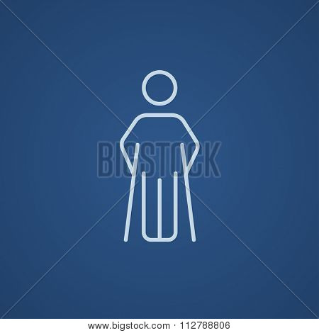 Man with crutches line icon for web, mobile and infographics. Vector light blue icon isolated on blue background.