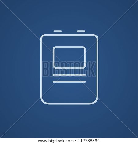 Heart defibrillator line icon for web, mobile and infographics. Vector light blue icon isolated on blue background.