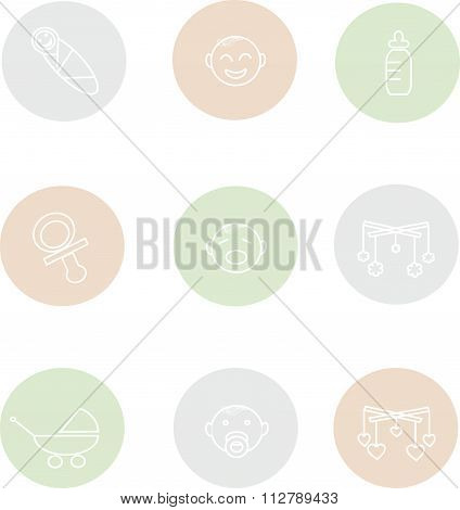 Round baby icons, thin white lines on a light green, blue, pink background
