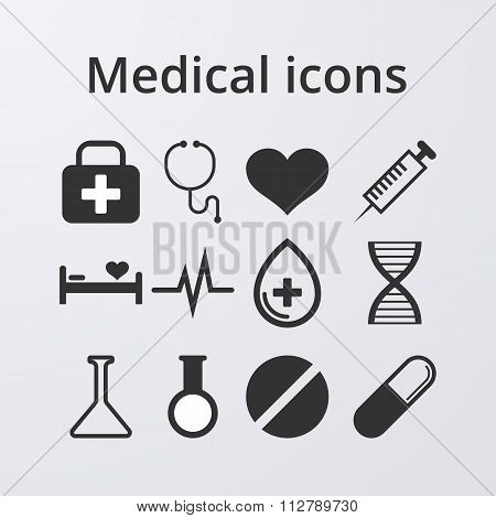 Vector illustration of a set medical icons