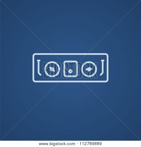 DJ console line icon for web, mobile and infographics. Vector light blue icon isolated on blue background.
