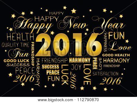 Happy New Year 2016 Greeting Card - Tagcloud