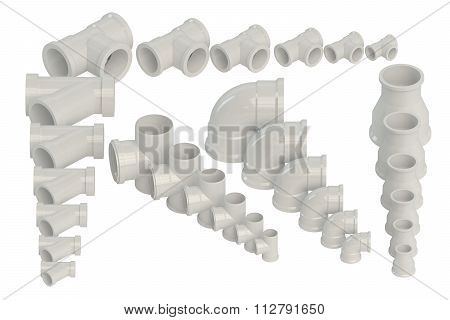 Set Of Plastic Fittings For Water Pipeline