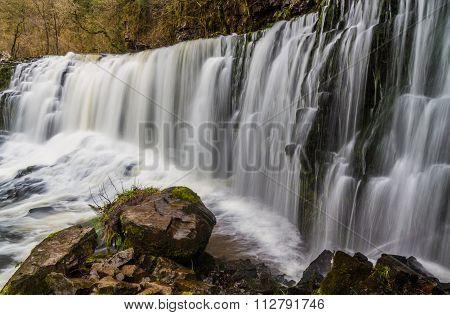 Sgwd Isaf Clun-gwyn Waterfall. On The River Afon Mellte South Wales, Uk Winter.