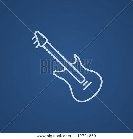 Electric guitar line icon for web, mobile and infographics. Vector light blue icon isolated on blue background.