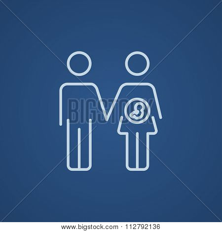 Husband with pregnant wife line icon for web, mobile and infographics. Vector light blue icon isolated on blue background.