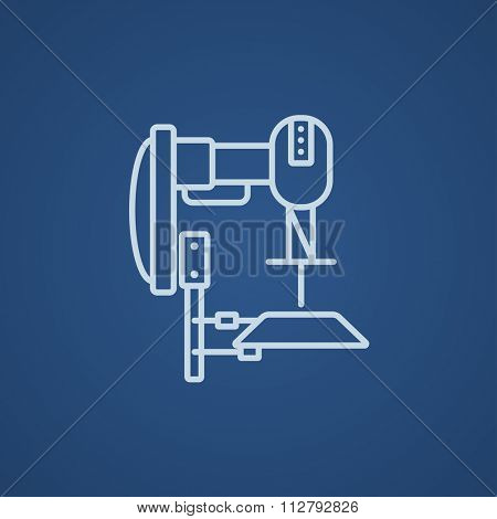 Industrial automated robot line icon for web, mobile and infographics. Vector light blue icon isolated on blue background. poster
