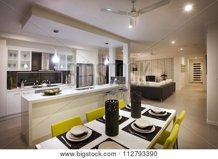 Eye Catching And Beautiful Image Of Kitchen With Room Attached
