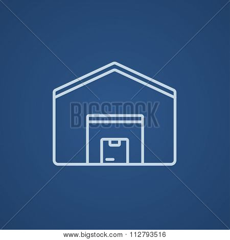 Warehouse line icon for web, mobile and infographics. Vector light blue icon isolated on blue background.