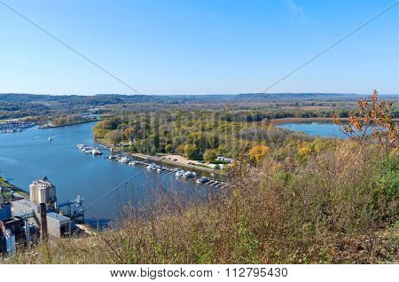 Aerial Of Mississippi River And Marina