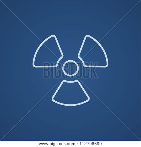 Ionizing radiation sign line icon for web, mobile and infographics. Vector light blue icon isolated on blue background.