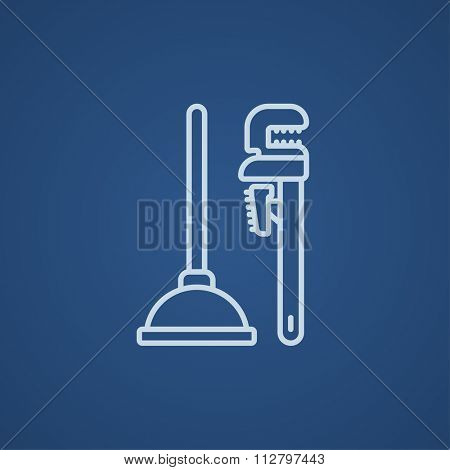 Pipe wrenches and plunger line icon for web, mobile and infographics. Vector light blue icon isolated on blue background.