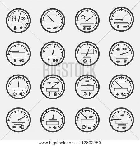 Velocity Meters Symbols Vector Illustration