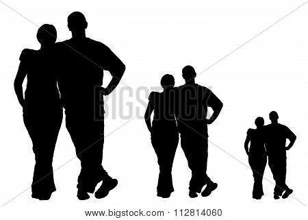 Collage Of Silhouettes Of Men And Women