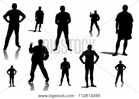 Collage Of Silhouettes Of Men