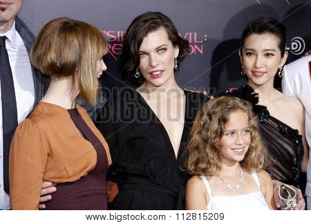 Sienna Guillory, Li Bingbing, Milla Jovovich and Aryana Engineer at the Los Angeles premiere of 'Resident Evil: Retribution' held at the Regal Cinemas L.A. Live, Los Angeles on September 12, 2012.