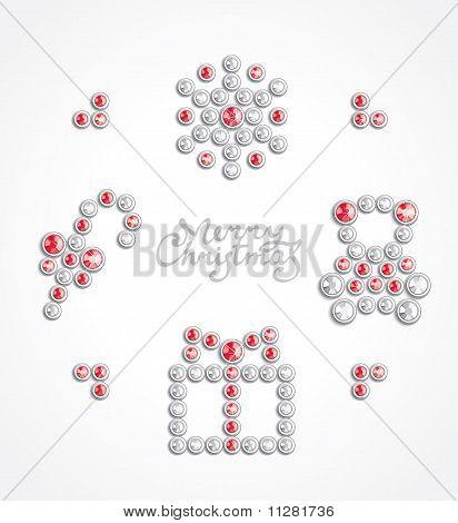 Christmas jewel icon set