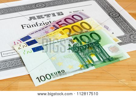 Share With Euro Banknotes
