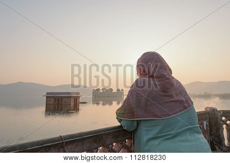 Local Women Visiting Jal Mahal Water Palace During Sunrise At Jaipur, India.