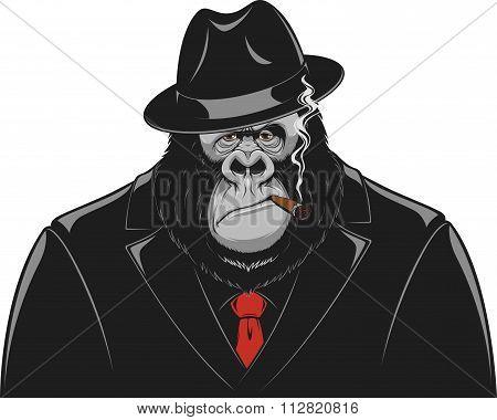 Monkey in a suit gangster