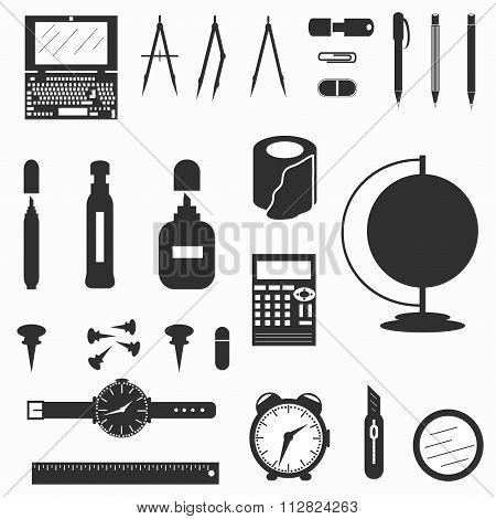 Office Supplies Symbols Vector Illustration