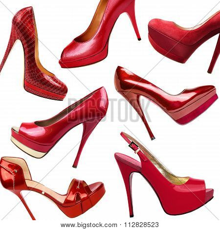 Red Female Shoes Background