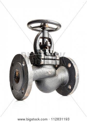 Old gas cast iron valve shot on white