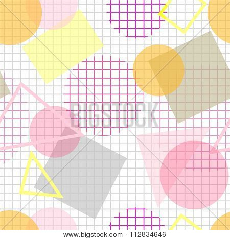 Pale Seamless Pattern With Pink, Yellow And Grey Geometric Shapes