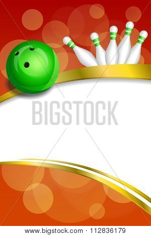 Background abstract red bowling green ball gold frame ribbon vertical illustration vector