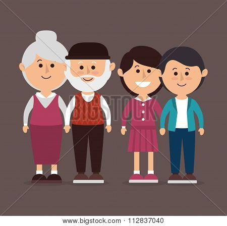 Family colorful cartoon