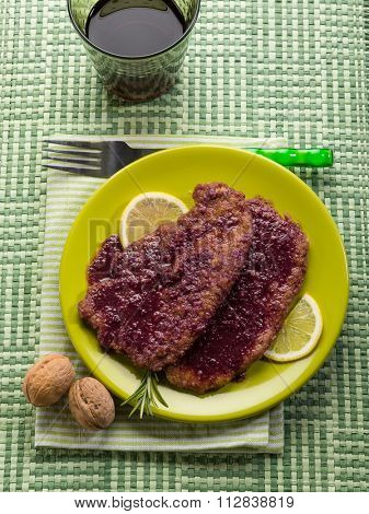 escalope cooked with red wine