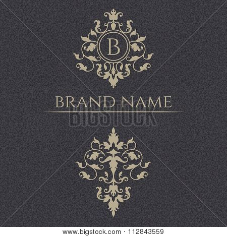 Decorative Vector Monogram And Floral Ornament.