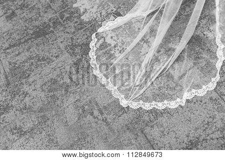Beautiful White Veil Lies On The Floor.