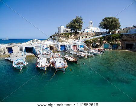 Mandrakia Traditional Greek Village With Fish Boats At Milos Island, Greece.