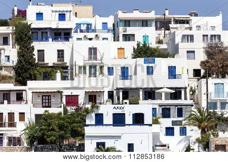View Of The Architecture Of Adamas Plaka Typical Greek Island In Cyclades, Milos, Greece.