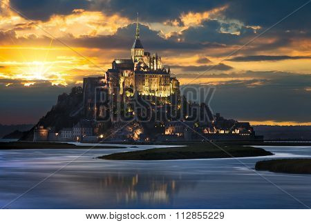 Le Mont-Saint-Michel at sunset