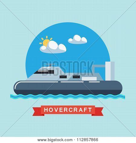 Hovercraft flat vector illustration.