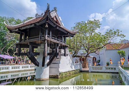 Hanoi, Vietnam - Circa September 2015: One Pillar Pagoda, Reconstructed Buddhist Temple In  Hanoi