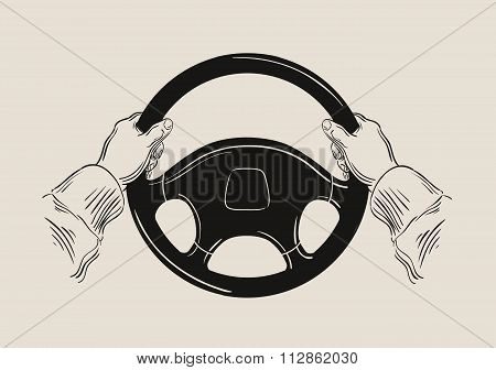 driver holding car steering wheel. vector graphic