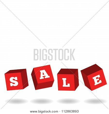 Sale Poster Mockup, Promotion 3D Cubes Advertising Banner, Design Template Discount Tag Flyer