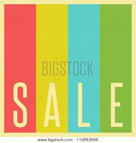 Sale Poster Mockup Retro Style Advertising Banner. Colorful Stripes Old Background Design Element
