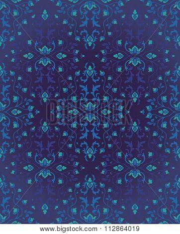 Blue Pattern For Oriental Carpet.