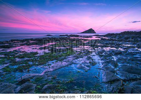 Dusk Or Dawn At Rocky Beach In South West England, Wembury.